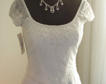 New with Tag Vintage Eden Bridal Beaded A-Line Wedding Dress