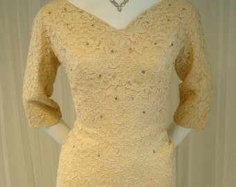 Mid Century Designer Lace Dress with Studded Rhinestones and Flared Skirt Back a Norman Original