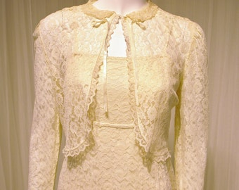 Sweet Vintage Ivory All Lace Wedding Maxi Dress with Matching Lace Bolero Jacket