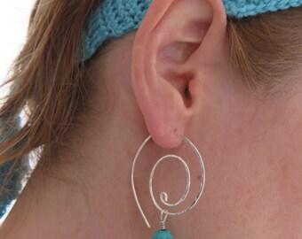 Turquoise Beaded Hoops, Sterling Silver Swirl Hoop Earrings, Large Spiral Hoops, Women's Jewellery, Coil, Swirl