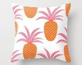 Pineapple Fruit 16x16 Graphic Decorative Cover Ananas Tropical Sweet Tropics Leaves Foliage Hot Pink Neon Orange Couch Art Decorative Spring