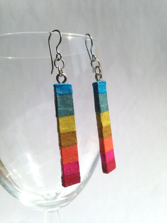 Delicate Rainbow Hanji Paper Dangle Earrings OOAK Striped Hypoallergenic hooks Lightweight
