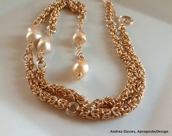 Pearl & 14K Rose Gold Chainmaille Necklace, Y Necklace, 24 inch / 61 cm, Luxury Jewelry, Sea of Roses