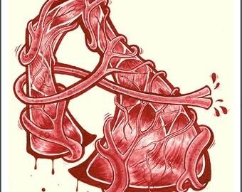 A is for Artery, Drop Cap Letter Art Print