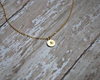 Tiny Initial Necklace - Personalized Hand Stamped Jewelry - Gold Brass