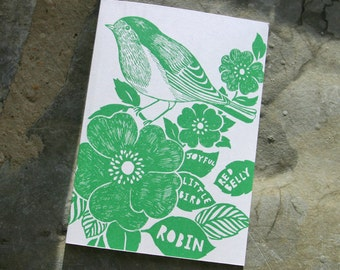 Blank greeting card, Emerald bird illustration.  Printed on FSC accredited card.
