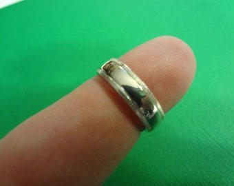 Wedding Band Silver Ring 925 Sterling Silver Modern Style Bride Groom Wedding Engagement Size 6