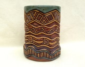 Pottery Hand Built Utensil Holder - Aztec, Triangle, Waves - Deeply Carved, Highly Textured - Sage Green, Tan, Brown - Home, Kitchen