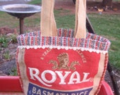 Recycled Basmati Rice Bag Tote    - upcycled burlap rice bag