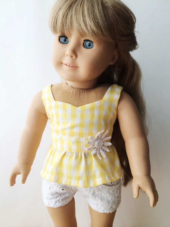 "American Girl 18"" Doll Clothes Yellow Gingham Daisy Peplum Top"