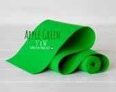 "100% Merino Wool Felt Roll - 5"" x 36"" Roll - Wool Felt Color Apple Green -1130 - Green Wool Felt - Pure Merino Wool -  Green Color Felt Roll"