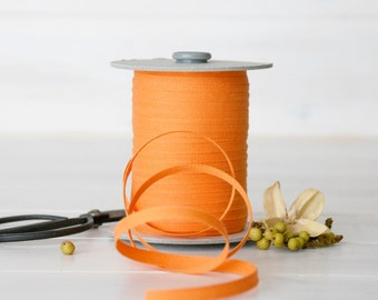 "Melon Cotton Ribbon - 5, 20 or 109 Yards -100% Cotton from Italy- 1/4"" wide - Orange Color Ribbon - Eco Friendly Ribbons - Melon Cotton Bulk"