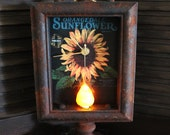 Primitive Sunflower Shadow Box Clock (lighted)