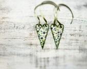 Wooden hearts Valentines day decor, Valentine gift white green blue floral
