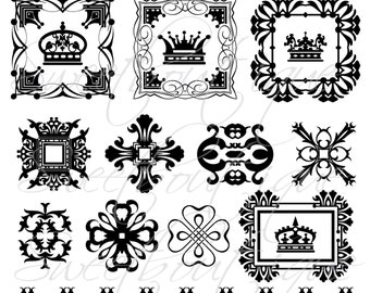 Digital Borders Frames Crowns Cliparts Vintage Wedding Text Dividers Decorations Supplies Clip Art Clipart Scrapbooking Craft