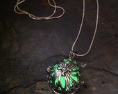 Steampunk Silver Teardrop Glow Pendant Locket With Your Choice Colour LED or Glow Orb
