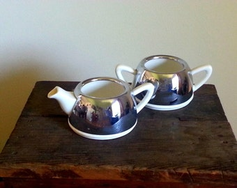 vintage EVERHOT Cream and sugar set by Perry, Bevan and Co Made In England