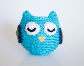 Crocheted Owl - Fun Little Bright Aqua Blue, Amigurumi Stuffed Animal, Woodland Owl - Perfect for Babies and Toddlers - Fun Stocking Stuffer