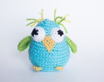 Crocheted Owl - Bright Aqua Blue and Green, Amigurumi Stuffed Animal, Woodland Owl - Perfect for Babies and Toddlers - Fun Stocking Stuffer