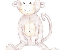 Cheeky Monkey Nursery Art, Drawing Print, Hand Drawn Illustration Print, Jungle Nursery Decor, Orange, Brown, Toy Sketch, Pencil Drawing