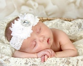 U CHOOSE COLOR White Shabby chic Headband Shabby Baby headband rhinestone newborn