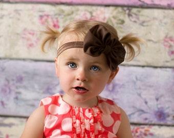 Brown Chiffon hair bow Headband Shabby Chic vintage fabric know bow baby headband