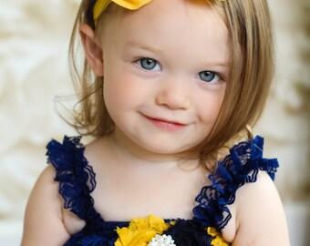 Golden Yellow Chiffon hair bow Headband Shabby Chic vintage fabric know bow baby headband