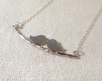 Silver Birds on Branch Necklace, Dainty Lovebirds Sterling Silver Chain, Everyday Jewelry