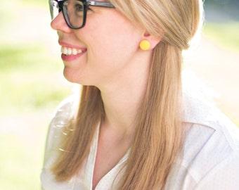 little Dandelion Button Earrings