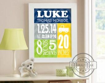 Baby Birth Announcement Wall Art, Custom Birth Print, 8x10 print, baby birth announcement keepsake, gift for new mom