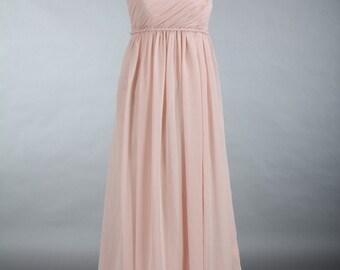 Blush Bridesmaid Dress, One Shoulder Chiffon Bridesmaid Dress, Empire Waist Long Chiffon Bridesmaid Dress