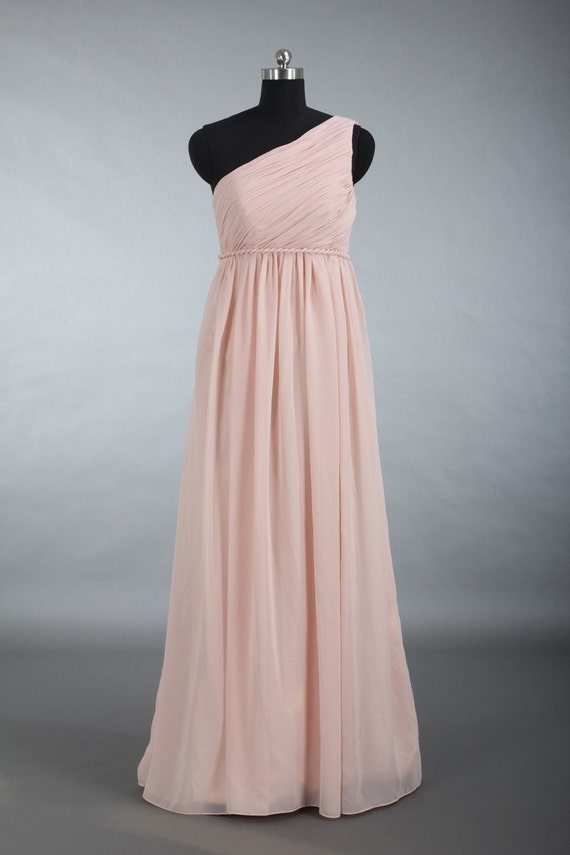 Blush Bridesmaid Dress One Shoulder Chiffon Bridesmaid Dress