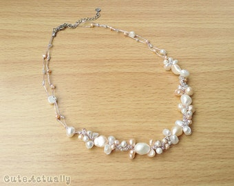 White peach freshwater pearl necklace with glass beads on silk thread, bridesmaid necklace, wedding jewelry