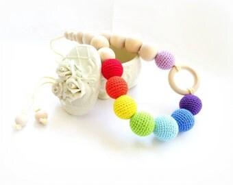 Teething Rainbow Nursing Necklace Crochet Breastfeeding Colorful necklace Slinging mom