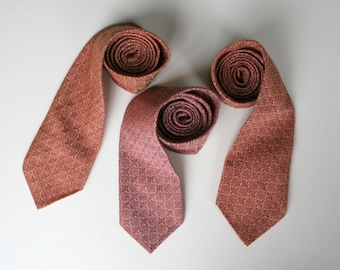 Vintage necktie, 80's vintage, washable neckties in peach/coral pink and brown, new old stock