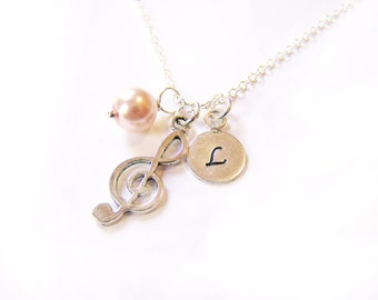 Musical Treble Clef Glass Pearl and Hand Stamped Initial Sterling Silver Necklace / Music Necklace / Gift for her