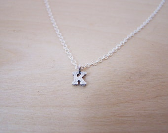 Tiny Initial K Sterling Silver Necklace /  Gift for Her