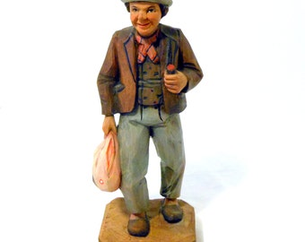 Hand Carved Folk Art Hobo Wooden Figurine @LootByLouise