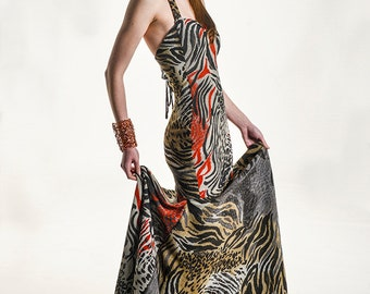 Animal Print Corsett Back Mermaid Style Dress