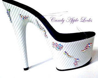 Exotic Dancer Shoes, CUSTOM Rhinestone Bling Dance wear Platform Heels, Stripper Mule White Silver CRYSTALS, club wear