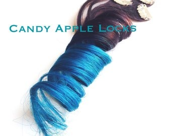 Turquoise Hair Extension Ombre Clip In, Human Hair, Rainbow Blue, Teal Dip Dye Extensions