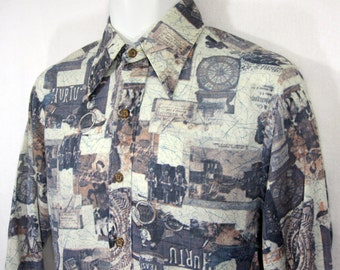 Vintage Jeans Joint By Sears Poly / Disco Collage Print Shirt Sz.M 1970's
