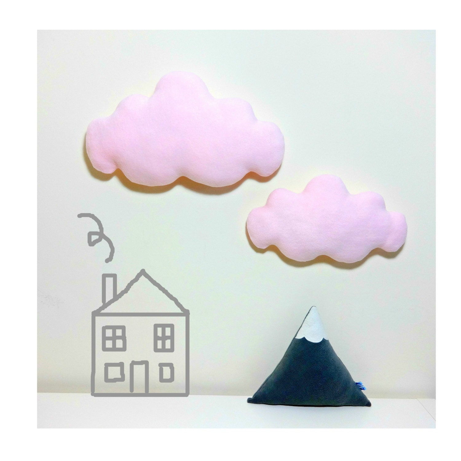 Set Of Two Light Pale Pink Wall Clouds Wall By Claireoncloud9