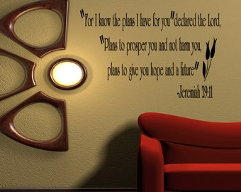 Jeremiah 29 11 Wall Art jeremiah 29 11 wall decal | etsy