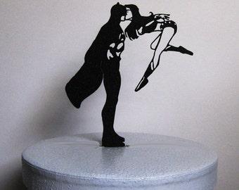 Wedding Cake Topper - Batman and Wonder Woman silhouette cake topper