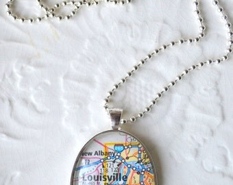 REDUCED Louisville KY Necklace - City Map Necklace - Vacation Necklace  Kentucky State Jewelry - Map Necklacep-Kentucky