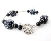 Black and White Bracelet, Polka Dot Bracelet, Black Onyx Bracelet, Sterling Bracelet, Lampwork Bracelet, Toggle Bracelet