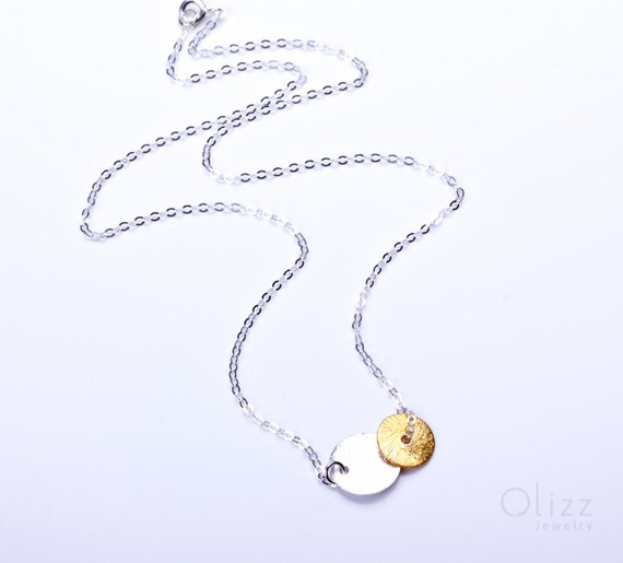 """Disc silver necklace, double disc necklace, sterling silver and gold vermeil, mixed metal necklace, bridesmaid necklace, """"Electra Vol2"""""""