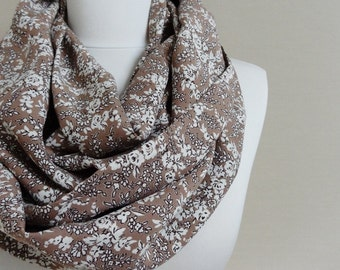 Floral Pattern Viscose Infinity scarf Brown Tube scarf, Circle scarf, Loop scarf, scarves, spring - fall - winter fashion Sale