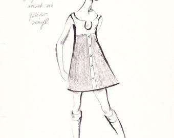 House of Courreges Original Vintage Fashion Sketch Stat Sheet 268